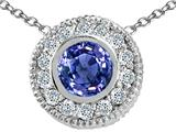 Tommaso Design™ Round Genuine Tanzanite and Diamond Pendant style: 24980