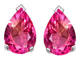 Tommaso Design™ Pear Shape 10x7mm Simulated Pink Topaz Earring Studs