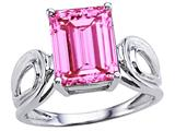 Tommaso Design™ Emerald Cut 10 x 8mm Created Pink Sapphire Solitaire Ring