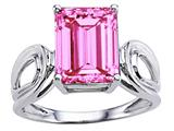 Tommaso Design™ Emerald Cut 10x8mm Simulated Pink Topaz Solitaire Ring
