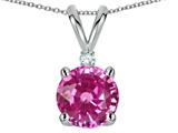 Tommaso Design Round 7mm Created Pink Sapphire and Genuine Diamond Pendant