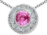 Tommaso Design Round 5mm Created Pink Sapphire and Genuine Diamond Pendant