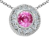 Tommaso Design Round 5mm Simulated Pink Topaz And Genuine Diamond Pendant
