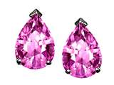 Tommaso Design Pear Shape 8x6mm Created Pink Sapphire Earring Studs