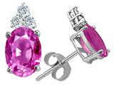 Tommaso Design Oval 8x6mm Simulated Pink Topaz And Genuine Diamond Earring Studs