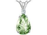 Tommaso Design Genuine Green Amethyst and Diamond Pendant