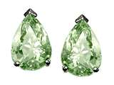 Tommaso Design Pear Shape Genuine Green Amethyst Earrings