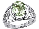 Tommaso Design Oval 10x8 mm Genuine Green Amethyst Ring