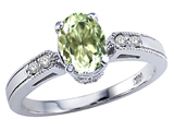 Tommaso Design™ Oval 7x5mm Genuine Green Amethyst and Diamond Ring