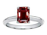 Tommaso Design Genuine Garnet Emerald Cut 8x6mm Engagement Ring
