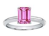 Tommaso Design™ Created Pink Sapphire Emerald Cut 8x6mm Engagement Ring