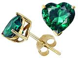 Tommaso Design™ Heart Shape 6mm Simulated Emerald Earring Studs