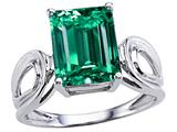 Tommaso Design Emerald Cut 10x8mm Simulated Emerald Solitaire Ring