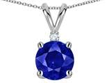 Tommaso Design™ Created Sapphire and Genuine Diamond Pendant