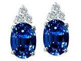 Tommaso Design Oval 8x6mm Created Sapphire and Genuine Diamond Earring Studs