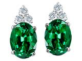 Tommaso Design Oval 8x6mm Simulated Emerald and Genuine Diamond Earring Studs