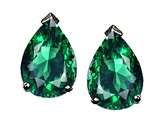 Tommaso Design Pear Shape 8x6mm Simulated Emerald Earring Studs