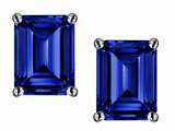 Tommaso Design Emerald Cut 8x6mm Created Sapphire Earring Studs