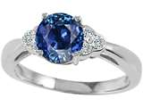 Tommaso Design™ Created 7mm Sapphire and Diamond Engagement Ring