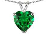 Tommaso Design 8mm Heart Shape Simulated Emerald Pendant