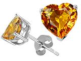 Tommaso Design Heart Shape Genuine Citrine and Earring Studs
