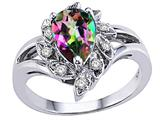 Tommaso Design Pear Shape 8x6 mm Mystic Rainbow Topaz and Diamond Ring