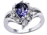Tommaso Design™ Pear Shape 8x6 mm Genuine Iolite and Diamond Ring style: 25906