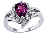 Tommaso Design™ Pear Shape 8x6 mm Genuine Rhodolite and Diamond Ring style: 25907