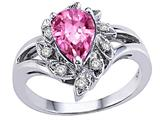 Tommaso Design™ Pear Shape 8x6mm Simulated Pink Topaz And Diamond Ring