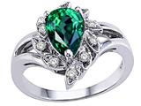Tommaso Design™ Pear Shape 8x6 mm Simulated Emerald and Genuine Diamond Ring style: 25912