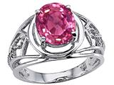 Tommaso Design™ Oval 10x8 mm Created Pink Sapphire Ring