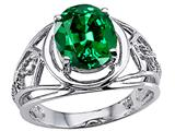 Tommaso Design™ Oval 10x8 mm Simulated Emerald Ring