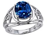Tommaso Design Large Oval 10x8mm Created Sapphire Ring