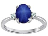 Tommaso Design™ Oval Created Star Sapphire 8x6mm 3 stone Engagement Ring