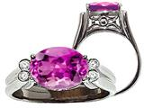 Tommaso Design™ Oval 10x8 mm Created Pink Sapphire and Diamond Ring