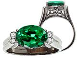 Tommaso Design Oval 10x8 mm Simulated Emerald And Diamond Ring