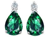Tommaso Design Pear Shape 8x6mm Simulated Emerald And Genuine Diamond Drops Earrings