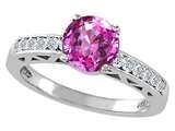 Tommaso Design™ Created Pink Sapphire and Diamond Solitaire Engagement Ring style: 26056