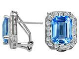 Original Star K Genuine Emerald Cut Blue Topaz Earrings