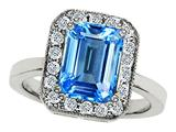 Original Star K 925 Genuine Emerald Cut Blue Topaz Ring