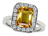 Original Star K™ 925 Genuine Emerald Cut Citrine Ring