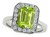 Original Star K™ 925 Genuine Emerald Cut Peridot Ring
