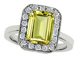 Original Star K™ 925 Genuine Emerald Cut Lemon Quartz Ring