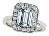 Original Star K 925 Genuine Emerald Cut Aquamarine Ring