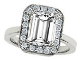 Original Star K 925 Emerald Cut Genuine White Topaz Ring