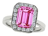 Original Star K™ 925 Simulated Emerald Cut Pink Tourmaline Ring