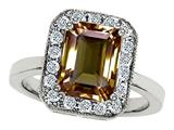 Original Star K™ 925 Genuine Emerald Cut Smoky Quartz Ring