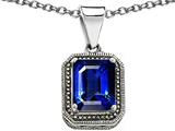 Original Star K 925 Bali Style Emerald Cut 10x8mm Created Sapphire Pendant