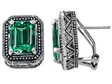 Original Star K™ 925 Bali Style Simulated Emerald Cut Emerald Earrings