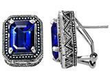 Original Star K Bali Style Emerald Cut Created Sapphire Earrings